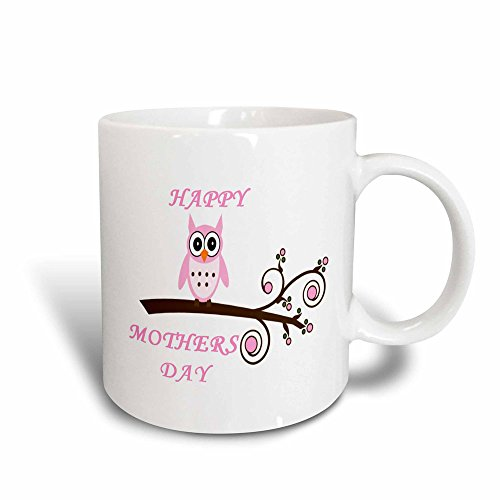 3dRose Happy Mothers Day with Pink Owl on a Branch, Magic Transforming Mug, 11-Ounce