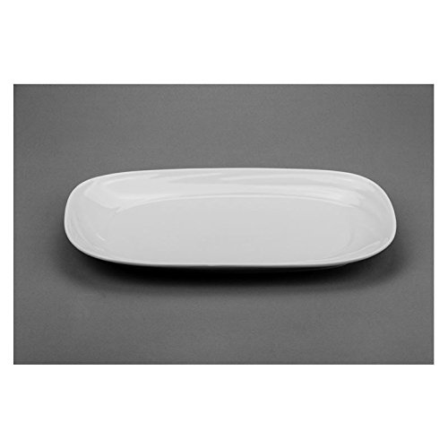 Modern M88715, 15x9-Inch White Rectangular Porcelain Plate, Square Serving Platter Tray with Rounded Corners, Classic Serving Plate (1 ()