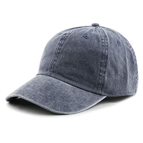 (The Hat Depot 100% Cotton Pigment Dyed Low Profile Six Panel Cap Hat (Blue))