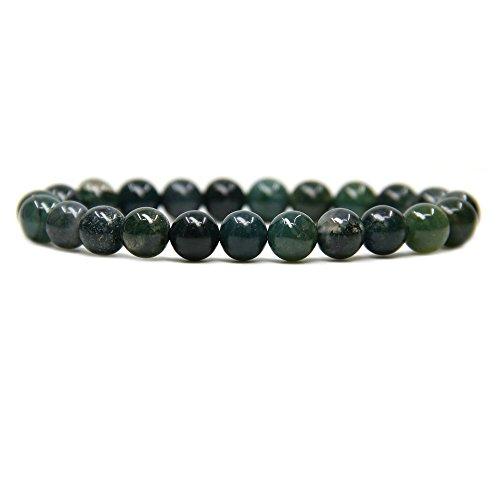 Natural Moss Agate Gemstone 8mm Ball Beads Stretch Bracelet 7