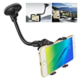 IPOW X-Shaped Double Clamp Universal Long Shockproof Arm Phone Car Mount Windshield/Dash With Strong Suction Cup,Cell Phone Holder For iPhone 8 8 Plus X 7 7 Plus 6 6 Plus Galaxy S9 S8 S7 S6 Google LG