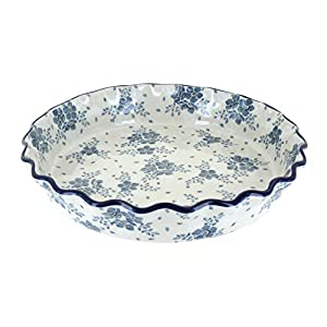 Blue Rose Polish Pottery Blue Fleur Pie Plate