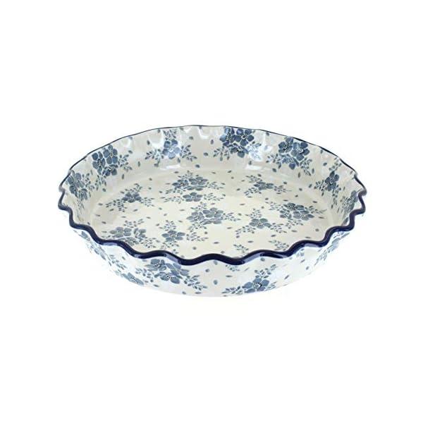 Blue Rose Polish Pottery Blue Fleur Pie Plate