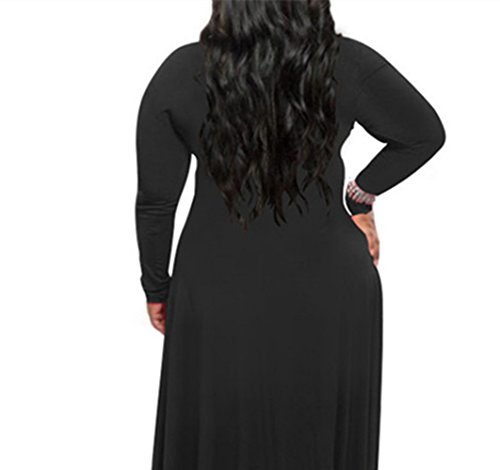 Oversize Long Sleeve Women Neck V Maxi zhxinashu XL Cocktail Black Dress 4XL q14wEUU