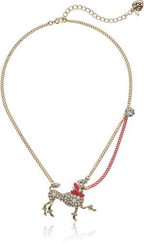 Betsey Johnson Womens Granny Chic Poodle and Pearl Pendant Necklace, Crystal, One Size - Pearl Poodle