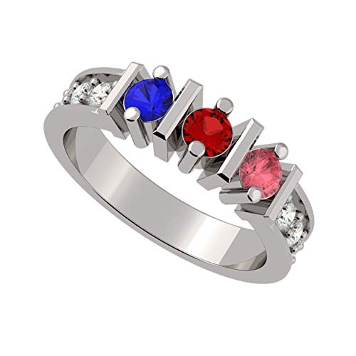NANA Straight Bar w/Side CZs Mothers Ring 1-6 Simulated Birthstones - Sterling Silver - Size 8