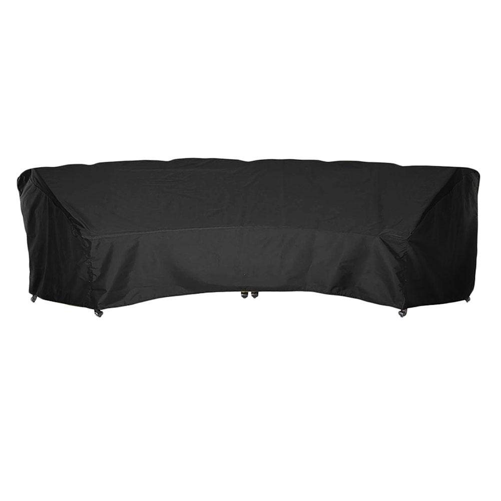 Outdoor Crescent Curved Sofa Cover with Seam Taped and Drawstring, Waterproof Dust-Proof Patio Furniture Half-Moon Sectional Sofa Set Protector, Lightweight, All Weather Protection