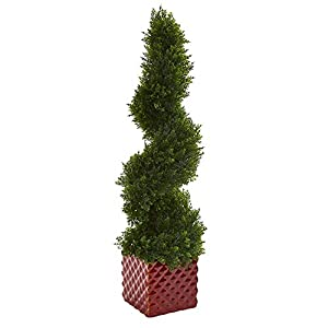 "Nearly Natural Cedar Spiral Topiary in Red Ceramic Cube, 26"" 115"