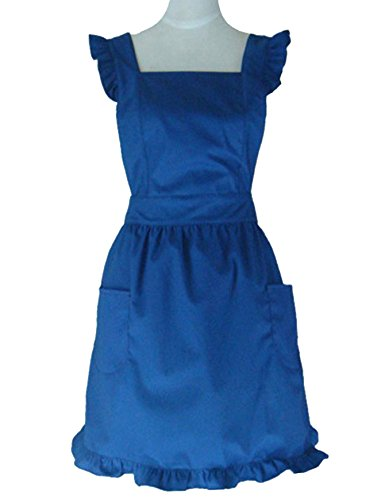Hyzrz Cute Lovely Cotton Retro Kitchen Cooking Aprons for Women Girls Vintage Baking Sexy Victorian Apron with Pockets for Gift (Blue)