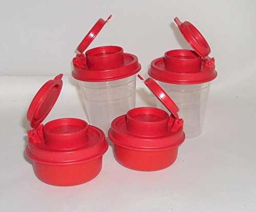 Tupperware Midgets and Smidgets Tiny Bowls Mini Salt and Pepper Shakers in Red