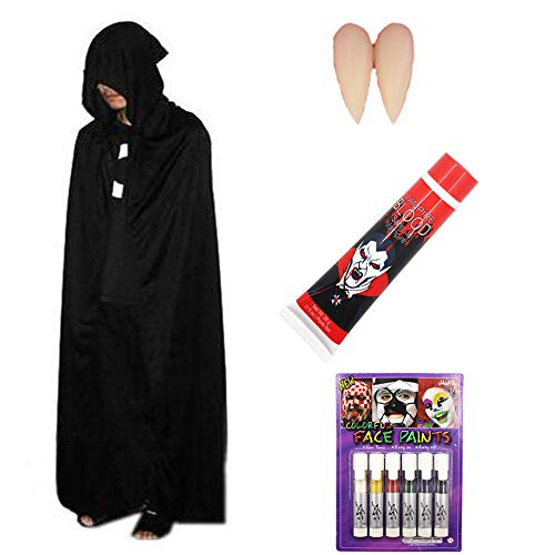 (SYGZQ Unisex Halloween Outfits Witch Costumes Cloak Vampire Teeth Fake Blood Face)