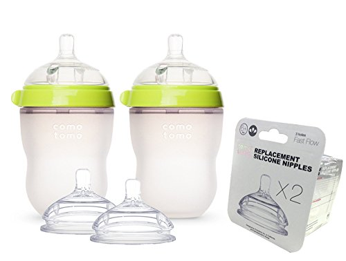 Comotomo Natural Feel Baby Bottle SET, Double Pack Green, 25