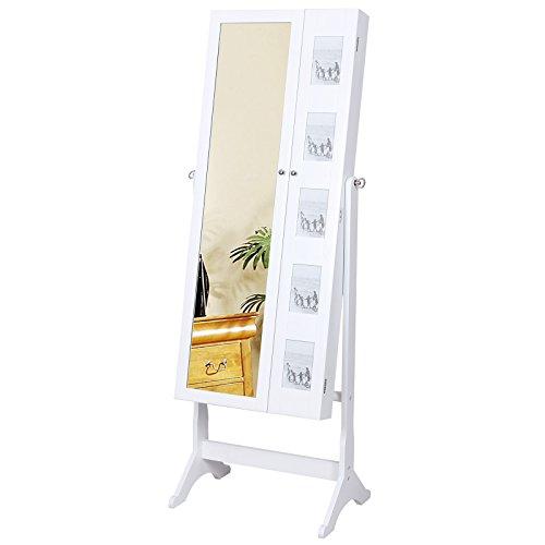 Songmics 154 x 53 x 38 cm Schmuckschrank Spiegelschrank mit galerie bilderrahmen Weiß JBC27W