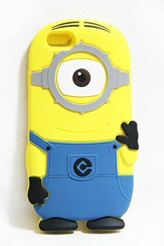 Deemall 3D Cute Cartoon Despicable Me Minion Soft Silicone Case Cover for Apple iphone 6 plus 5.5 inch Light Blue 1 Eye