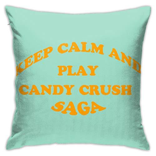 Jinsshop Keep Calm and Play Candy Crush Saga Home Decoration Design Beautiful Pillow Holder 18x18 Inch 45x45 cm