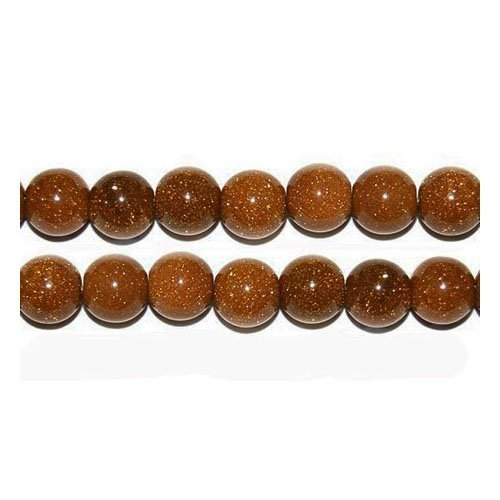Packet of 10 x Brown Goldstone 6mm Plain Round Beads - (VP2480) - Charming (Plain Round Beads)