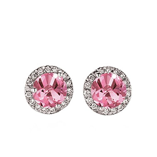 - Dazzlingrock Collection 14K Round Pink Sapphire & White Diamond Ladies Halo Style Stud Earrings, White Gold