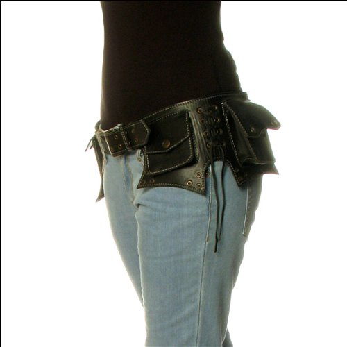 Pack Pouch Utility Waist (EYES OF INDIA - Black Leather Belt Bum Waist Hip Bag Pouch Fanny Pack Utility Pocket Travel)