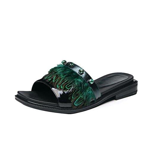 Negro Zapatillas Chancletas Verano Fresco Moda Informal Zapatillas Joker Plano 8rwFT8c