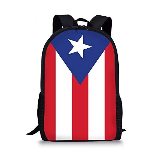 PrelerDIY Puerto Rico Flag Kids Backpack School Children Book Bag Rucksack Lightweight Daypack for Boys Girls 17 Inch
