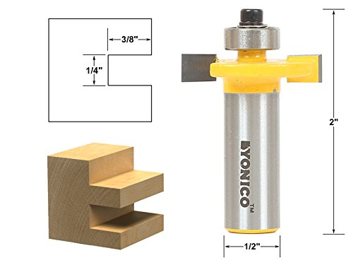 Yonico 14184 1/4-Inch Height X 3/8-Inch Depth Slot Cutter Router Bit 1/2-Inch ()