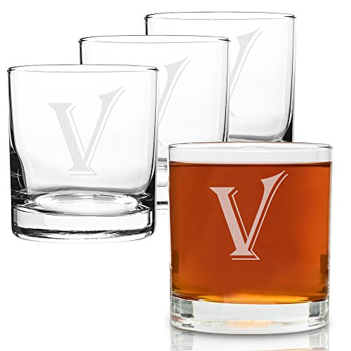 (V-Monogram)- 4 Piece Set of 11 Ounce Engraved Heavy Base Rocks Glasses Elegant Glass-Multi-Purpose Beverage-Rocks Glass- Perfect Gift for any Occasion- By: On The ()
