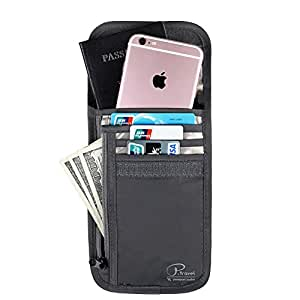 Passport Wallet, Travel Neck Pouch with RFID Blocking, Security Travel Wallet, Travel Neck Wallet & Passport Holder, Durable & Water Resistant for Money & Credit Cards by VanFn P.Travel Series (Black)