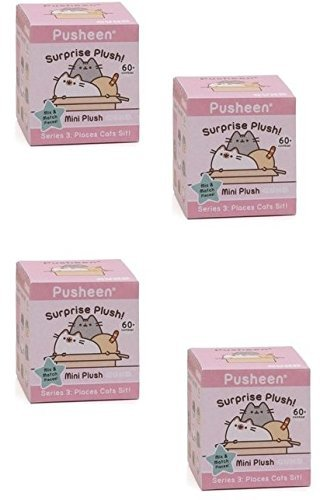 Gund Pusheen Blind Box Series #3 Surprise Plush 4-Pack Bundle (Series Box Seat 3)