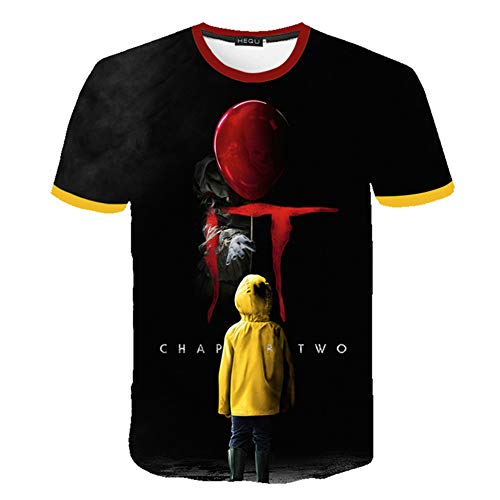Fushimuma Unisex 3D Stephen King's It T-Shirts Horror Clown Pennywise Halloween Cosplay Tee Tops (XL, ()