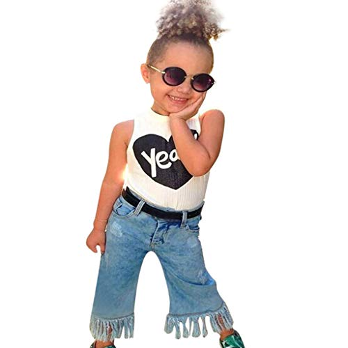DaySeventh Toddler Girls Outfit Clothes Print T-Shirt Tops+Long Pants Trousers 1Set (White, 2T)