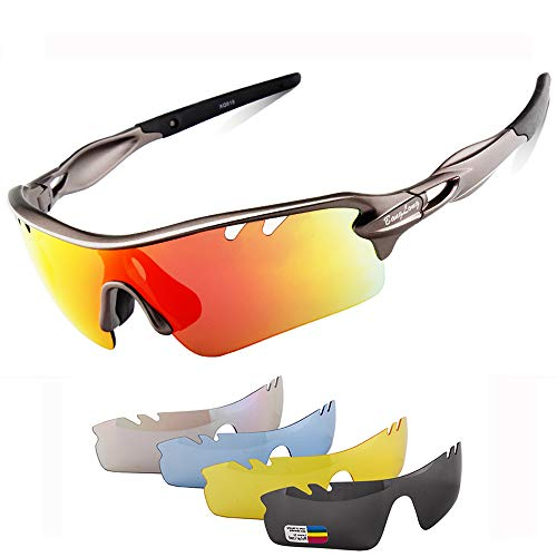 Polarized Sports Sunglasses Cycling Sun Glasses for Men Women with 5 Interchangeable Lenes for Running Baseball Golf Driving (Gun + Grey, - Golf Sunglasses Polarized