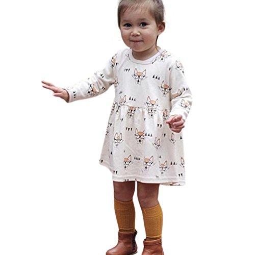 Digood Toddler Newborn Baby Kids Girls Princess Fox Cartoon Print Party Dress Sundress Outfits (12-24 Months, Beige) (Girl Take Out Dress)