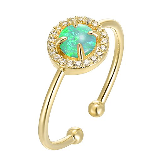 PAVOI 14K Yellow Gold Plated CZ and Created Green Opal Ring by PAVOI (Image #1)