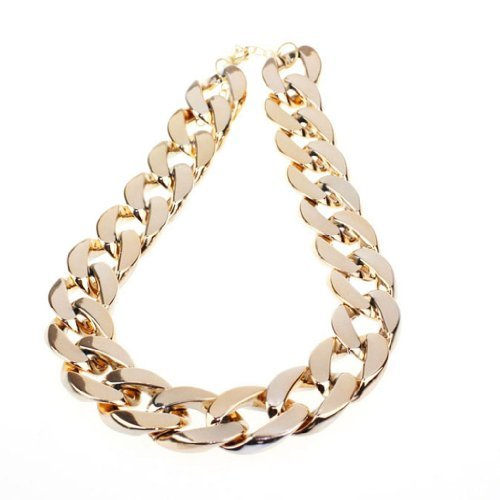 MANDI HOME 2016 Shiny Link Id Celebrity Style Alloy Choker Necklace Chunky Chain (Gold)