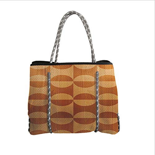 iPrint Neoprene Multipurpose Beach Bag Tote Bags,Rustic Home Decor,Abstract Oak Plank Pattern with Tiled Bound Lines and Oval Curves Image,Orange Tan,Women Casual Handbag Tote Bags