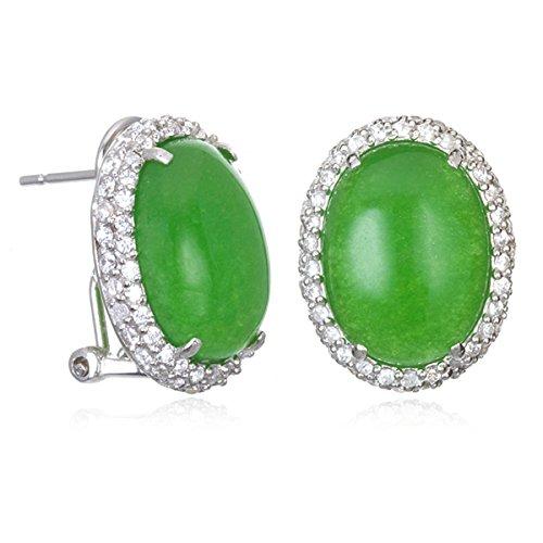 Green Jade Omega Back Earring - Jadeite Earrings