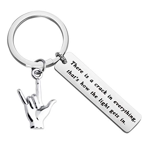 FUSTMW I Love You Hand Sign Language Charm Keychain ASL Jewelry Deaf Awareness Gifts There is a Crack in Everything That is How The Light gets in Language Interpreter Gift (Silver) -