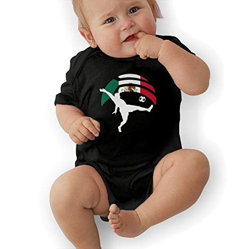 Short Sleeve Cotton Rompers for Baby Girls Boys, Cute Soccer Player Kicking Ball Mexico Flag Playsuit Black -
