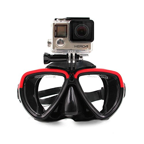 TELESIN Dive Mask with Detachable Camera Screw Mount - Compatible with GoPro/DJI Osmo Action/Xiaoyi- Red & Black