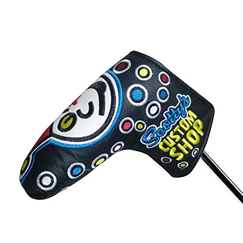 Cshopping Black Golf Head Cover, Blade Putter Club, Embroidered Headcovers with PU Leather, Putter Cover Fit All Brands Blade, Club Protector for Scotty, Cameron, Taylormade, Odyssey