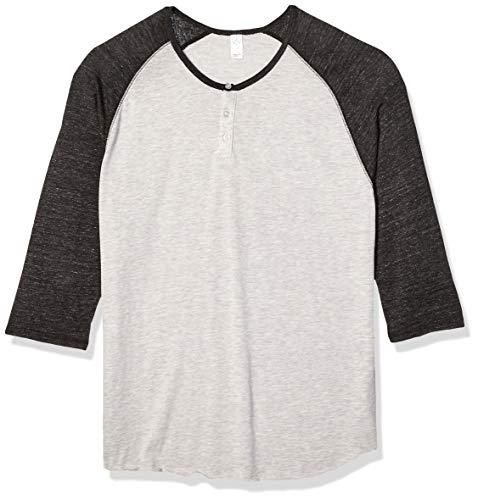 Alternative Men's Raglan 3/4 Sleeve Henley Shirt, Oatmeal/Black, Large