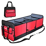 FLAGPOWER Car Trunk Organizer, Foldable Grocery Storage Container with 3 Compartments for SUV