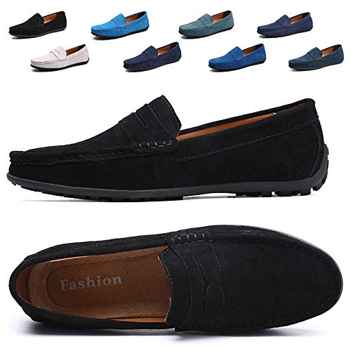 Black Calfskin Loafer Shoes - TSIODFO Velvet Loafers Men Black Slip On Shoes Suede Cow Leather Comfort Walking Shoes Dress Business Shoes Size 10 (A101Black45)