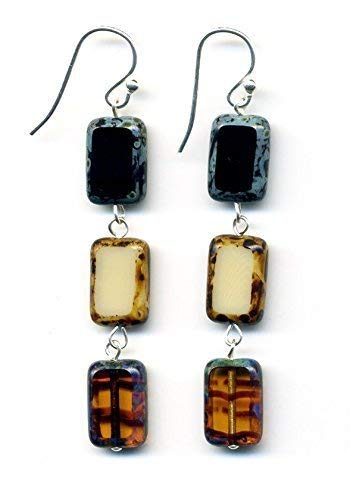 - Glass Bead Rectangle Drop Earrings in Brown Black Cream Amber Off White, Rectangular Dangle Earrings, Sterling Silver