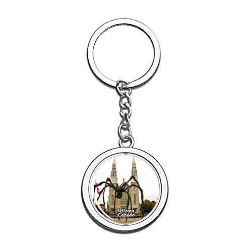 Keychain National Gallery of Canada Ottawa Canada Keychain 3D Crystal Spinning Round Stainless Steel Keychains Travel City Souvenir Key Chain Ring -