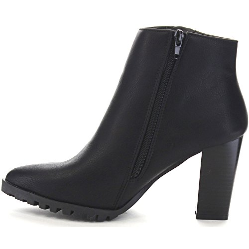 Bella Marie Carly-11 Mujeres Almond Toe Side Cremallera Chic Stacked Heel Botaie, Color: Negro, Tamaño: 6