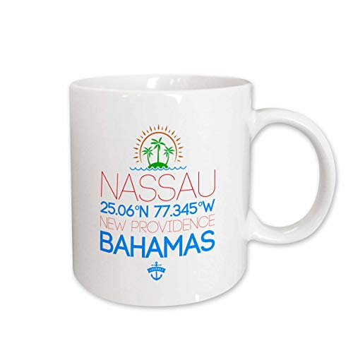 3dRose Alexis Design - Cities Bahamas - Nassau, Bahamas. Location coordinates. Elegant travel gift - 11oz Magic Transforming Mug (mug_315803_3)
