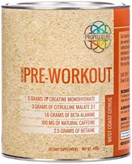Propello Life Pre-Workout Drink Mix, West Coast Citrus, 450g
