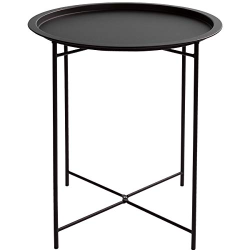 HollyHOME Folding Tray Metal Side Table, Sofa Table Small Round End Tables, Anti-Rust and Waterproof Outdoor or Indoor Snack Table, Accent Coffee Table, H 20.28 x D 18.11 , Frosted Black