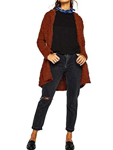 Cardigan Manica Alta Lunghi Comodo Monocromo Felpa Con Lanoso di Cappuccio Di Maglioni Autunno marca Elegante Mode Invernali Moda Lunga Qualit Donna xwT7q6HwpY